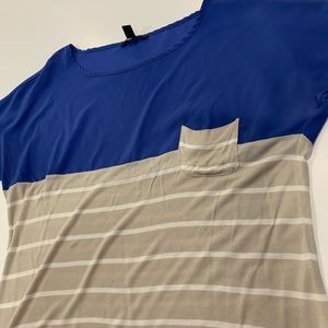 MNG Mango Blue and Gray Striped Blouse
